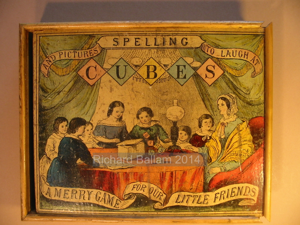 Box for Spelling Cubes and Pictures to Laugh at, Barfoot, c. 1850